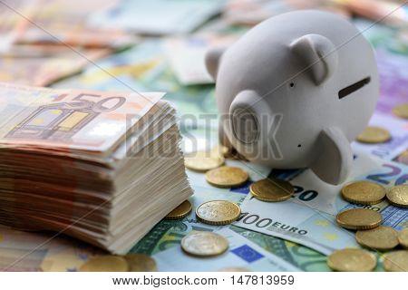 pig money box with cash closeup