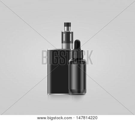 Blank black vape mod box with juice bottle mockup isolated clipping path 3d illustration. Clear smoking vapor with dropper flacon mock up template. Modbox vaporizer device presentation.