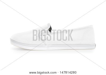 Blank white slip-on shoe design mockup side view clipping path 3d rendering. Plain hipster slipon mock up template stand. Urban skate shoes with clear label presentation.