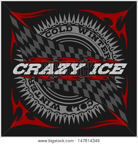 Racing emblem, crossed checkered flags, wheel and text on black, vector illustration