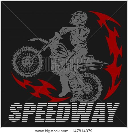 Motocross rider on a motorcycle - Vector Illustration