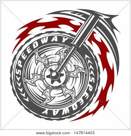 Moto wheel Vector Emblem Symbol inside wheel and tribal