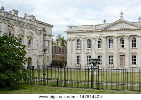 CAMBRIDGE, UK - AUGUST 31, 2016: The old school building, Senate House at the University of Cambridge, Cambridgeshire, UK