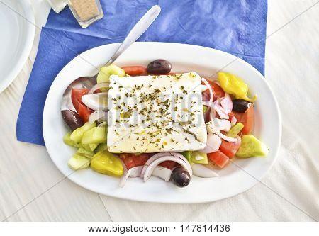 traditional greek mediterranean salad with the greek cheese feta