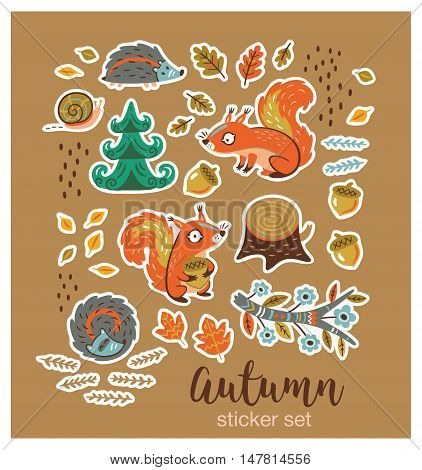Autumn stickers. Fall. Vector illustration. Set of stickers with cartoon characters and autumn elements - squirrels, leaves, hedgehogs, snail, tree stump, nuts and fir