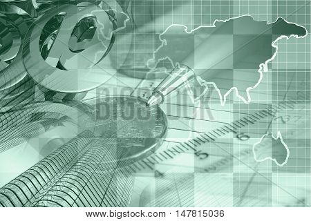 Financial background in greens with money calculator map buildings and pen.