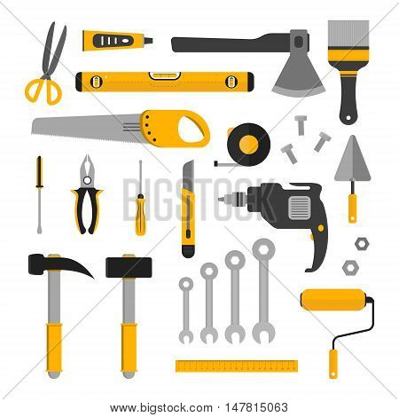 Flat set of working tools. Icons design elements isolated on white. Construction and home repair instruments. Hand drill glue screwdriver saw and pliers level hammer and scissors. Vector