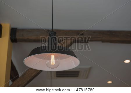 Vintage Hanging lamp  decor. Edison lamp. In the room