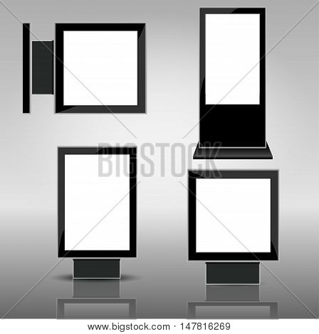 Set of different light boxes. Blank panel light boxes. vector light box templates on grey background.
