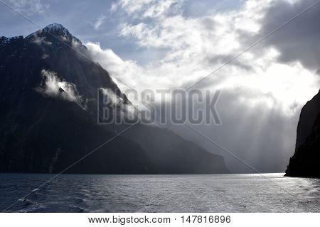 Cruising at Milford Sound Fiordland New Zealand. 8th wonder of the world.