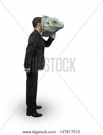 Man With Iguana Mask