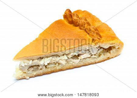 Pie with stuffing isolated on white background