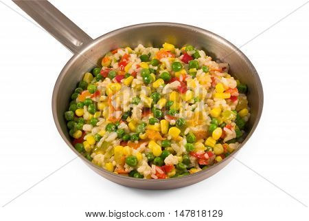 Small pan with fried vegetable mix isolated on white background