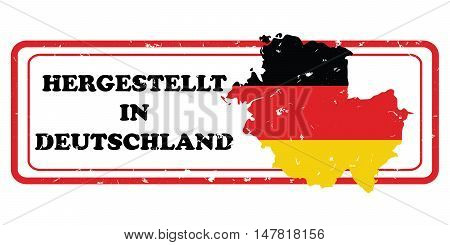 Made in Germany (Text in German language: Hergestellt in Deutchland). printable label with German flag colors. CMYK colors used.