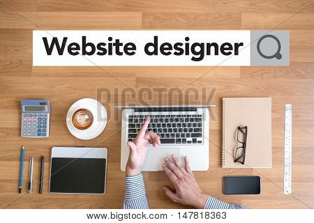 Website Designer Working Digital Tablet