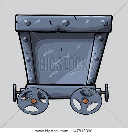 empty Iron mine cart for your designs. cartoon mine cart