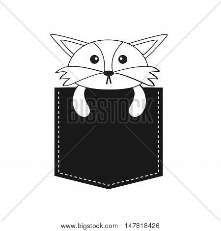 Fox in the pocket. Cute cartoon contour character. Dash line. Forest animal collection. White and black color. T-shirt design. Baby background. Isolated. Flat Vector illustration