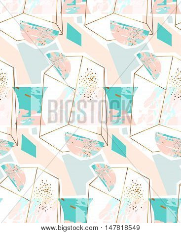 Hand drawn vector abstract artistic geometric seamless pattern with crystal terrarium and glitter in gold, pastel and tiffany blue colors isolated on white background.Polygonal artistic background.