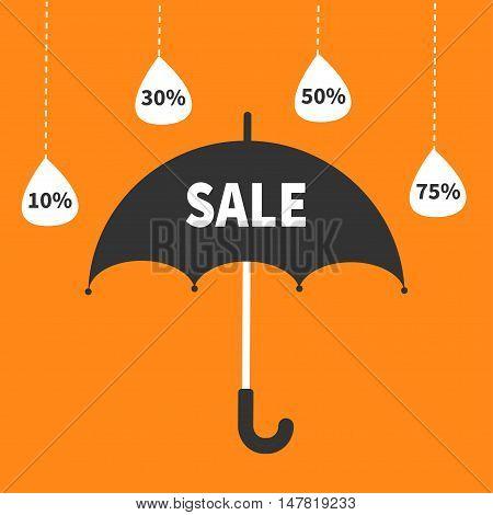 Monsoon season offer. Black umbrella. Hanging dash line raining drops. 10 30 50 75 persent off Sale banner poster. Flat design. Orange background. Vector illustration
