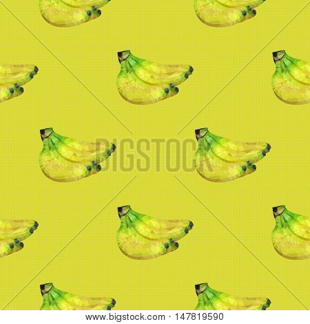 Seamless pattern a linking of bananas which fills template space.pomegranate, vegetarian food, vegetarian, vector, design, banner, set, background, food, fresh, nature, fruit, summer, menu, green, diet, yellow, illustration, colorful, ripe, tropical, conc