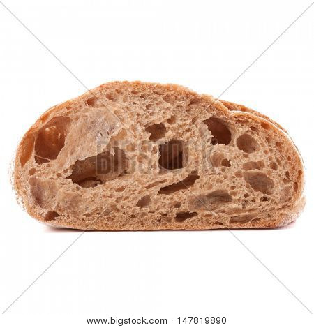 Slice of fresh ciabatta bread isolated on white background cutout