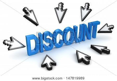 Click to discount concept , 3d rendering.