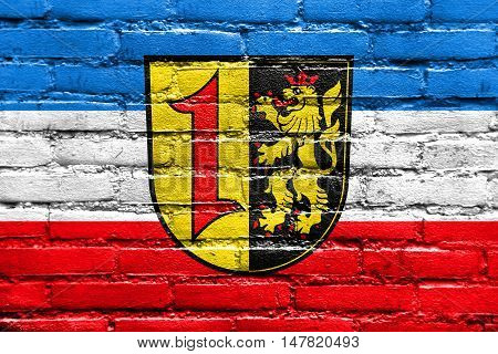 Flag Of Mannheim With Coat Of Arms, Germany, Painted On Brick Wall