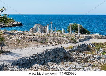 Ancient city Chersonese, ruins of Basilica 1935 VI-X c. , Sevastopol, Crimea Russia