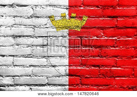Flag Of Mdina With Coat Of Arms, Malta, Painted On Brick Wall