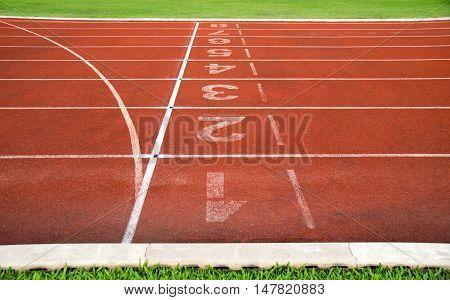 Close up track number at Athletics Stadium Running
