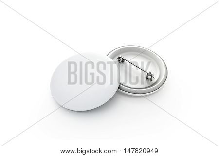 Blank white button badge stack mockup isolated clipping path 3d rendering. Empty clear pin emblem mock up. Round plastic volunteer label. Vote sign design template. Campaigning badges display.
