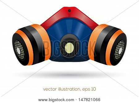 Multicolored respirator isolated on a white background. Respirator icon. Vector illustration