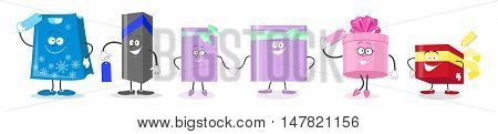 Set gifts. Cartoon animated characters gift boxes . Vector illustration
