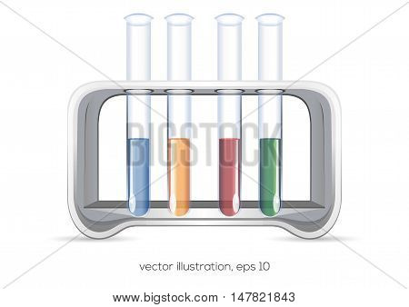 Chemical flasks with multi-colored reagents. Tubes isolated on white background. Design element for chemical lab. Vector illustration