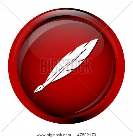 Feather quill icon pen sign on red button vector illustration