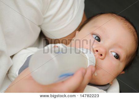 Dad feeding his newborn baby