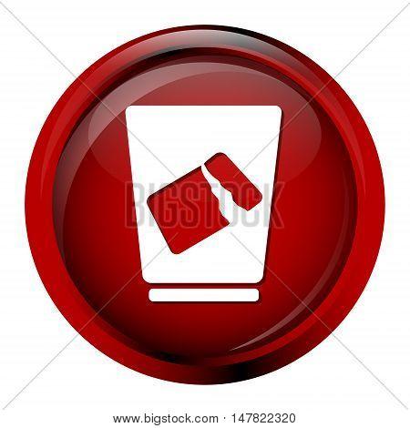 Trash bin icon symbol, red button vector illustration