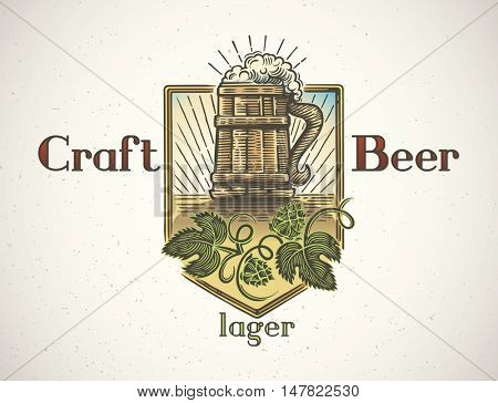 Mug of beer in a graphic style and elements of the branches of hops. Hand-drawn illustration.