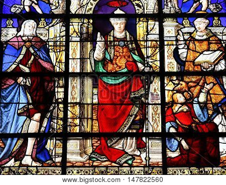 Duclair France - june 22 2016 : stained glass window of the Saint Denis church