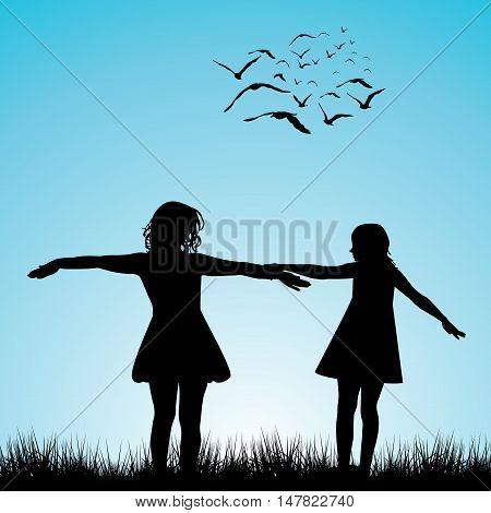 Black silhouettes of two  girls playing outdoor
