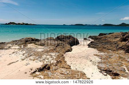 Rocky beach, Nice Coast at Chong Samae San, Chonburi of Thailand