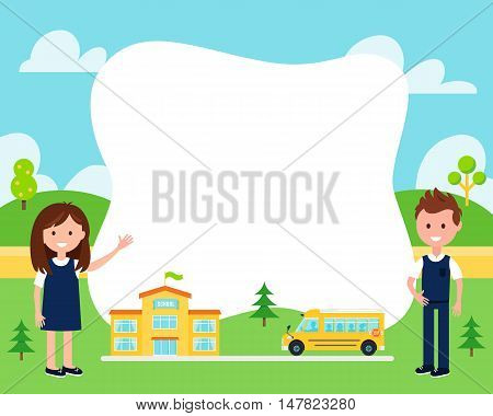School Poster with Children Wearing Uniform, School Buliding and Bus. Vector Illustration