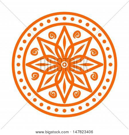 Circular pattern in arabesque style. Eight pointed star on white background. Mandala. Lotus. Vector illustration