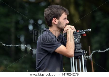 The unknown operator of Ukraine TV Channel makes a filming.At September 10,2016 in Kiev, Ukraine