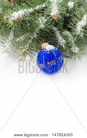 Snow-covered branches of Christmas tree and blue ball on snow copy-space
