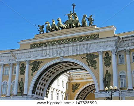 The triumphal arch of the General staff. Arc de Triomphe. Monument of architecture. Architectural monument. Landmark. Tourist attraction. Historic building. Saint Petersburg, Russia.