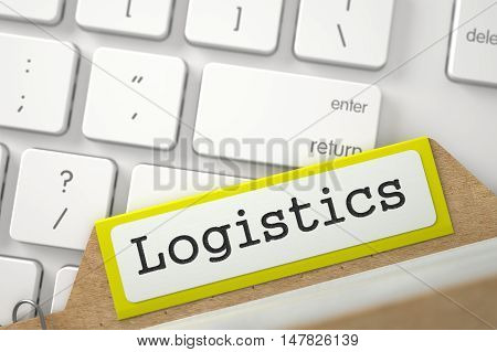 Logistics. Yellow Card Index Concept on Background of Computer Keyboard. Archive Concept. Close Up View. Selective Focus. 3D Rendering.