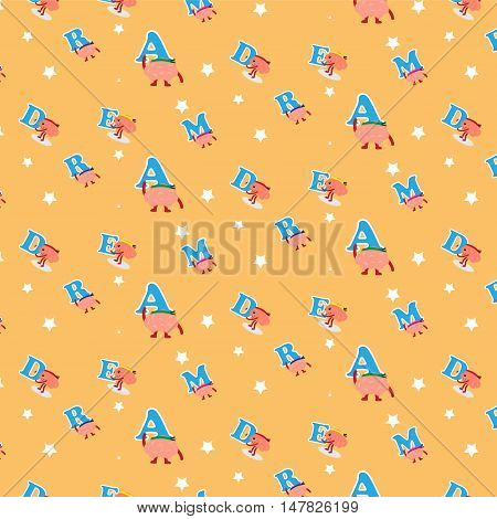 brain cartoon character holding letters of dream vector illustration pattern background (conceptual image about teamwork that helping together to build the dream)