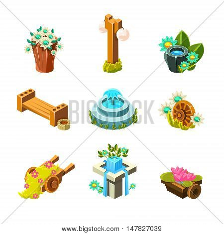 Video Game Garden Landscape Decoration Collection Of Elements In Cute Vector Childish Style Isolated On White Background