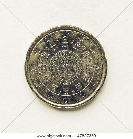 Vintage Portuguese 20 Cent Coin